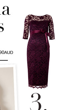 Amelia Lace Maternity Dress (Claret)