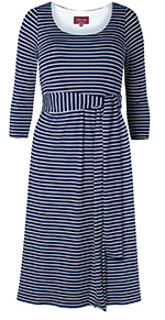 Naomi Nursing Dress Navy Stripe