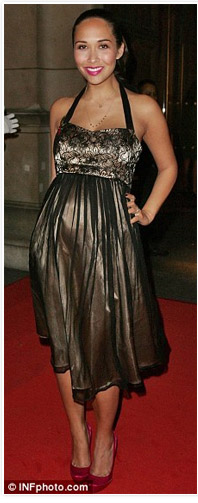 Myleene Klass wearing the Tiffany Rose Siren Maternity Dress