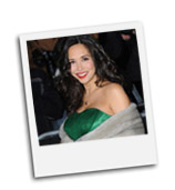 Myleene Klass wearing the Tiffany Rose Emerald Gown