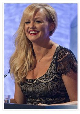 Emma Bunton on ITV1s Dancing on Ice wearing the Flutter Maternity Dress by Tiffany Rose