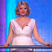 Holly Willoughby wearing the Anastasia Maternity Gown with Diamante Sash by Tiffany Rose on ITV's Dancing on Ice