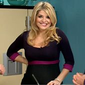 Holly Willoughby wearing the Colour Block Maternity Dress by Tiffany Rose on ITV's This Morning