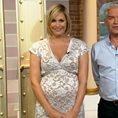 Jenni Falconer wearing the Grace Maternity Dress (Ivory) by Tiffany Rose on ITV's This Morning