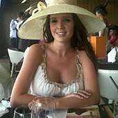 Danielle Lloyd wearing the Grecian Dress by Tiffany Rose at the Dubai World Cup