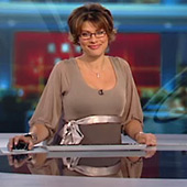 Kate Silverton wearing the Sienna Dress (Dusk) by Tiffany Rose on BBC's Weekend News