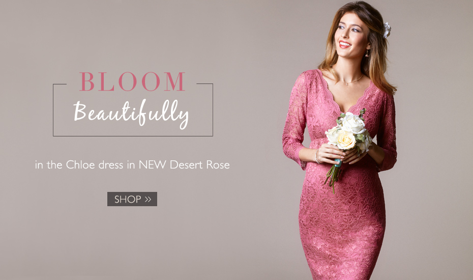 Chloe Maternity Lace Dress Desert Rose