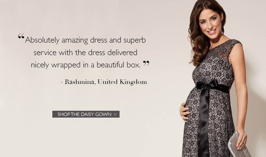Daisy Maternity Gown Long Black and Silver