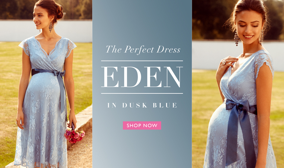 Eden Maternity Gown Short Dusk Blue