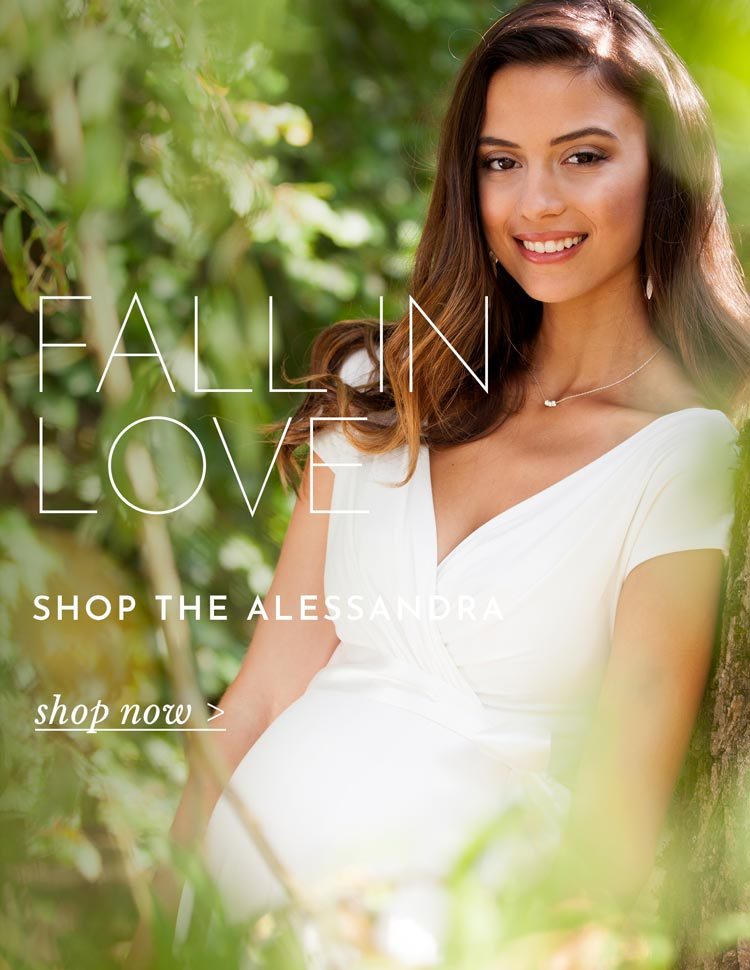 Alessandra Maternity Wedding Dress Short Ivory