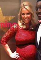 Laura Hamilton wearing the Amelia Dress (Rouge)