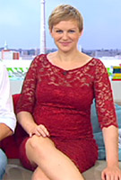 Karen Heinrichs wearing the Amelia Dress Short (Rouge)