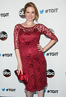Sarah Drew wearing the Amelia Dress Short (Rouge)