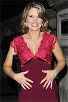 Charlotte Hawkins wearing the Luella Etuikleid (Bright Rose)