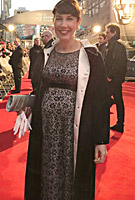 Suzanne McManus wearing the Daisy Gown Long (Black and Silver)