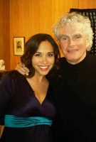 Myleene Klass interviewing Sir Simon Rattle for CNN in the Indigo Dress by Tiffany Rose
