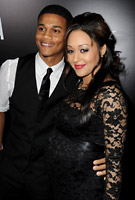 Tia Mowry wearing the Chloe (Black) Maternity Dress by Tiffany Rose to the Battlefield:LA Premiere