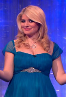 Holly Willoughby wearing a custom Kingfisher Blue edition of the Alya Silk Maternity Gown by Tiffany Rose on ITVs Dancing on Ice