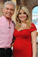 Holly Willoughby wearing the Riviera (Crimson) Maternity Dress by Tiffany Rose on ITVs This Morning