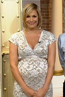 Jenni Falconer wearing the Grace Maternity Dress (Ivory) by Tiffany Rose