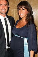 Sheree Murphy wearing the Sienna Maternity Dress (Midnight Blue) by Tiffany Rose