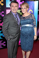 Sybil Mulcahy wearing the Amelia Maternity Gown (Windsor Blue) by Tiffany Rose on TV3 Launch in Dublin