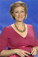 Becky Mantin wearing the Tulip Maternity Dress (Raspberry) by Tiffany Rose on ITV Weather