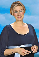 Becky Mantin wearing the Sienna Maternity Dress (Midnight Blue) by Tiffany Rose on ITV Weather