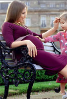 Julia Arshavin wearing the Indigo Maternity Dress (Berry) by Tiffany Rose for Hello Magazine, Russia