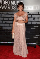 Nikki DeLoach wearing the Eva Lace Gown (Antique Rose) by Tiffany Rose to the MTV VMAs 2013, August 2013