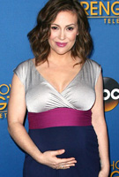 Alyssa Milano wearing the Jewel Block Dress in Eclipse by Tiffany Rose to a charity telethon in Hollywood
