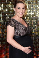 Sam Bailey wearing the Rosa Gown Long (Vintage Blush) by Tiffany Rose to the British Soap Awards