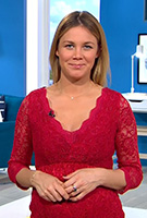 Alina Merkau wearing the Chloe Lace Dress (Scarlet)