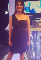 Sonali Shah wearing the Galaxy Abendkleid lang (Night Sky)