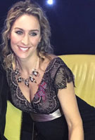 Amy Williams MBE wearing the Rosa Abendkleid lang (Vintage Blush)