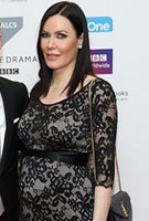 Linzi Stoppard wearing the Charlotte Lace Dress (Black)