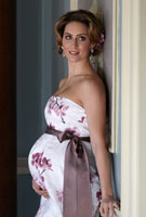 Amy Williams MBE wearing the Ocean Gown Long (Cherry Blossom)