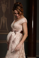 Amy Williams MBE wearing the Orla Lace Dress (Pearl Blush)