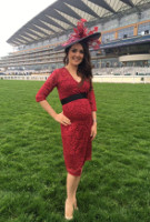 Laura Tobin  wearing the Suzie Dress (Deep Red)