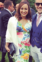 Jessica Ennis-Hill wearing the Etuikleid Bardot (Hawaii Blumen)