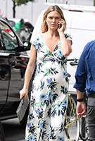 Julia Stiles wearing the Alana Maxi Dress (Inky Tropics)