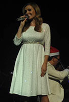 Katherine Jenkins wearing the Sienna Dress (Cream)