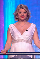 Holly Willoughby wearing the Anastasia Gown Long (Ivory) with Diamante Sash