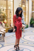 Deborah Panzokou wearing the Amelia Dress Short (Rouge)