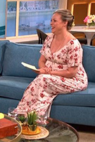 Sharon Marshall wearing the Kimono Maxi Dress (Cherry Blossom Red)