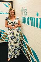 Sharon Marshall wearing the Alana Maxi Dress (Inky Tropics)