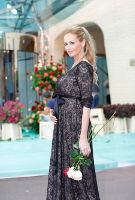 Adriana Karembeu wearing the Chloe Lace Gown Long (Blush Noir)
