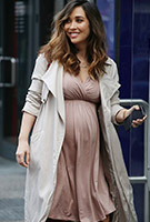 Myleene Klass wearing the Francesca Dress (Blush)