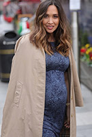 Myleene Klass wearing the Anna Shift Dress (Storm Blue)