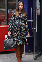 Myleene Klass wearing the Sally Dress (Forest Night)